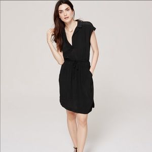 Loft Black Drawstring Shirtdress